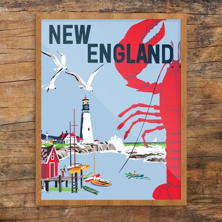 New England Seaside Lobster & Lighthouse Travel Poster 11 x 14 Print