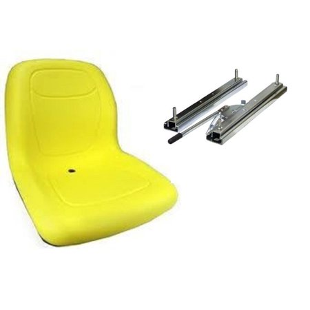 Yellow HIGH BACK SEAT w/ Slide Track Kit for Case Skid Steer Loader Made in USA by The ROP Shop ()