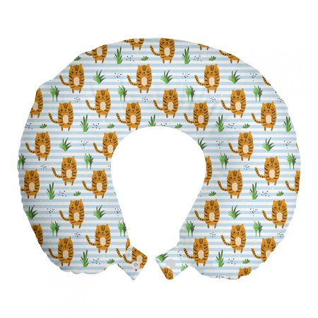 """Nursery Travel Pillow Neck Rest, Baby Tigers on Horizontal Stripes Background Nursery Doodle Print, Memory Foam Traveling Accessory Airplane and Car, 12"""", Pale Blue and Persian Orange, by Ambesonne"""