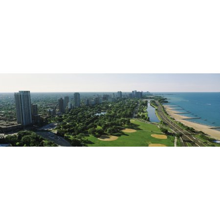 Aerial view of apartment buildings and Lincoln Park along the lake North Avenue Beach Chicago Cook County Illinois USA Canvas Art - Panoramic Images (6 x 18)](Halloween Lincoln Park Chicago)