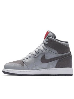Product Image Nike Boy s Air Jordan 1 Retro High Premium Basketball Shoe  (GS) Wolf Grey  f73068df0