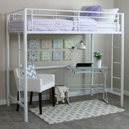 walker edison twin metal loft bed multiple colors walmartcom - Metal Frame Loft Bed