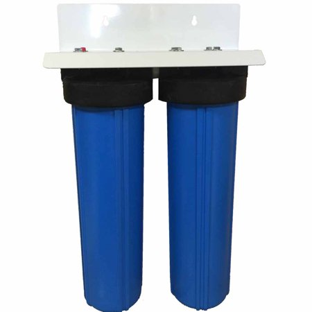- 20-inch 2 Stage Big Blue Phosphate & Radial Flow Carbon Filter for Scale Prevention & Sediment, Chemical, Taste, and Odor Removal