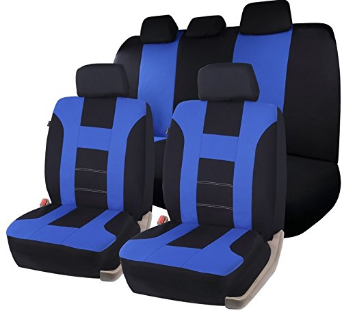 Zone Tech Universal Full Set of Car Seat Covers Racing Style- Black/Blue
