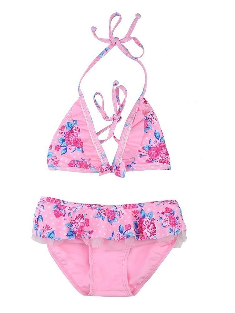 Sun Emporium Little Girls Pink Vintage Rose Print Frill 2 Pc Bikini Set