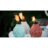 TIKI Brand 6-Inch 3-pk Marine Glass Table Torch Seaside Escape Assorted Colors Ivory, Coral or Blue