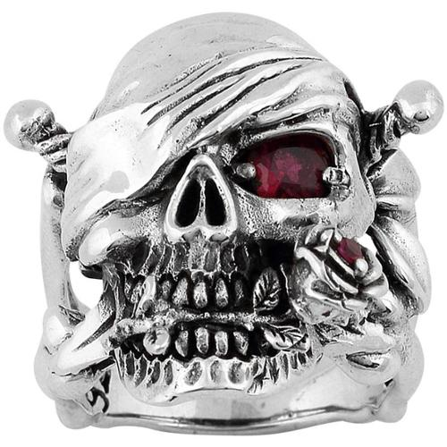 Hellfire Jewelry Sterling Silver Decaying Joy Skull Ring