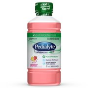 Pedialyte AdvancedCare Electrolyte Solution, 1 Liter, 4 Count, with PreActiv Prebiotics, Hydration Drink, Strawberry Lemonade