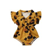 Binwwede Baby Girl Infant Flower Blouse Romper Ruffles Jumpsuit Outfit Clothes Summer Baby Clothing MHXX