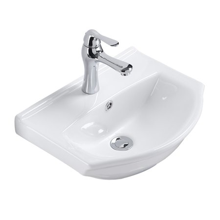 Small Wall Mount Bathroom Sink White China Space Saving