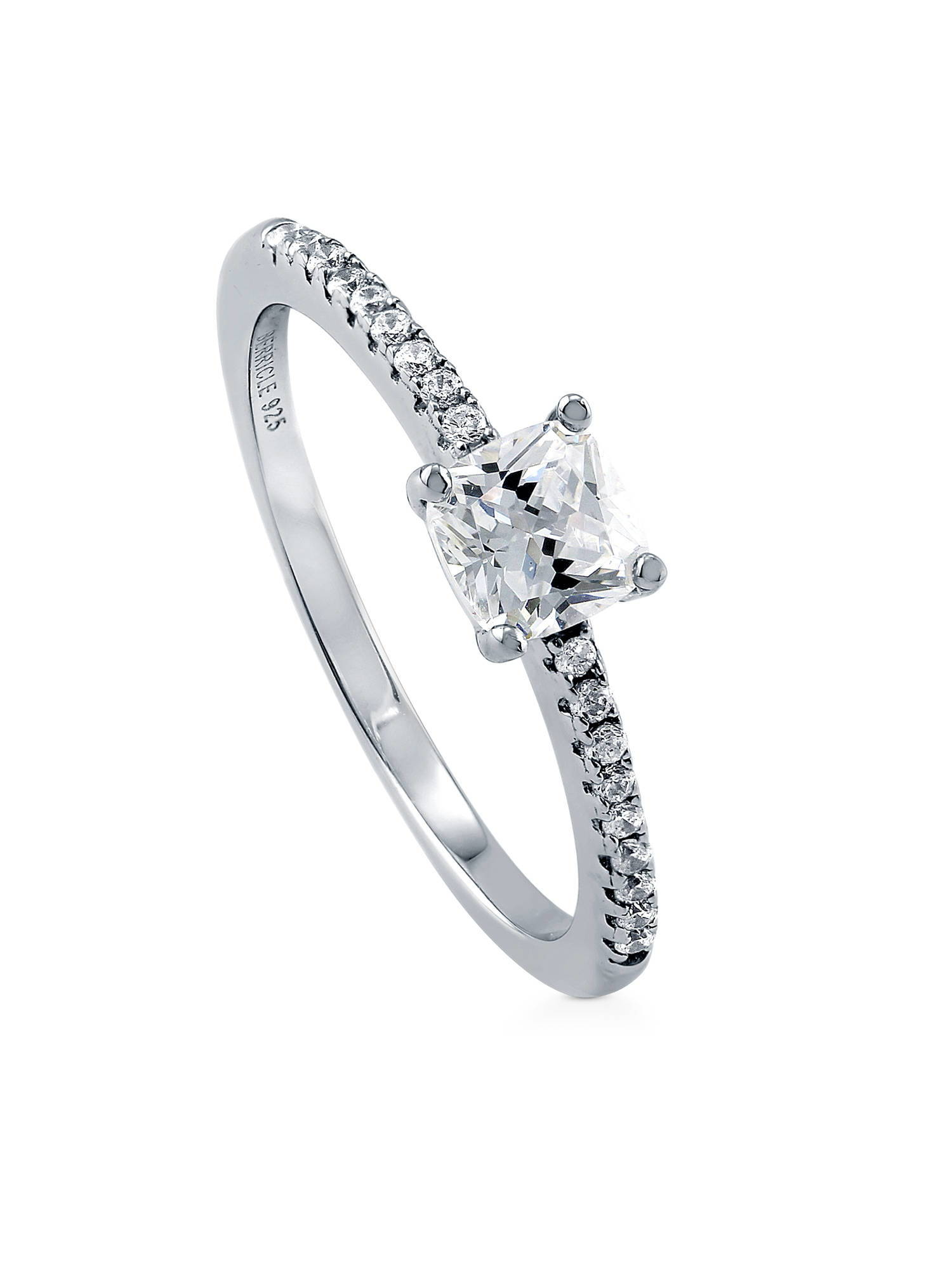 BERRICLE Rhodium Plated Sterling Silver Cubic Zirconia CZ Solitaire Promise Engagement Ring Size 3.5