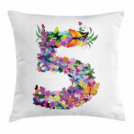 Number Throw Pillow Cushion Cover, Floral Spring Five Years Anniversary Marriage Wedding Wreath Style Blossom Butterfly, Decorative Square Accent Pillow Case, 20 X 20 Inches, Multicolor, by Ambesonne (Butterfly Wedding)