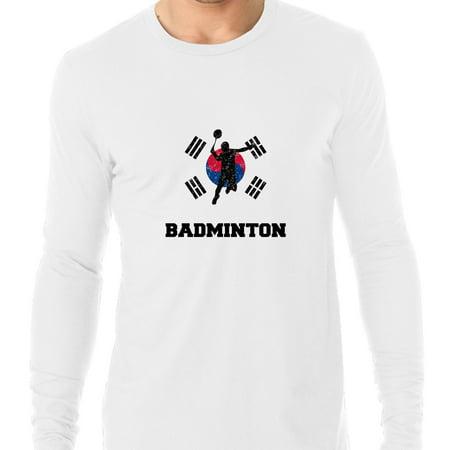 South Korea  Olympic - Badminton - Flag - Silhouette Men's Long Sleeve - Badminton Funny Long Sleeve