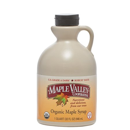 Maple Valley Pure Organic Maple Syrup 32 Oz. Grade A Dark Robust Maple Syrup *Formerly Grade B* in Bpa-free Plastic - Maple Syrup Jug