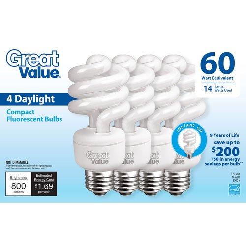 great value 60 watt equivalent 14w daylight cfl lightbulb 4pk - Compact Fluorescent Light Bulbs