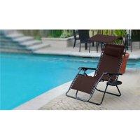Jeco GCOL16 Oversized Olefin Zero Gravity Chair with Sunshade & Drink Tray, Mocha