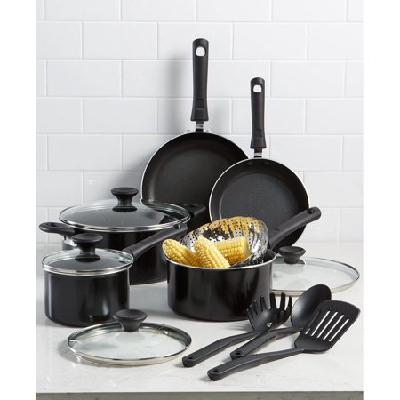 Tools of the Trade Nonstick Aluminum, Dishwasher Safe, Easy To Clean, Thirteen Piece Cookware Set, Black (New Open Box)