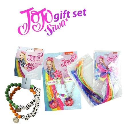 JoJo Siwa Fashion jewelry Gift Set Necklace Bracelet Hair Extension Nickelodeon ()
