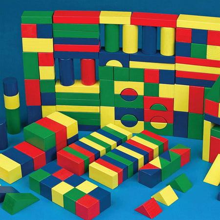 Colored Wooden Block Set, Set of 65