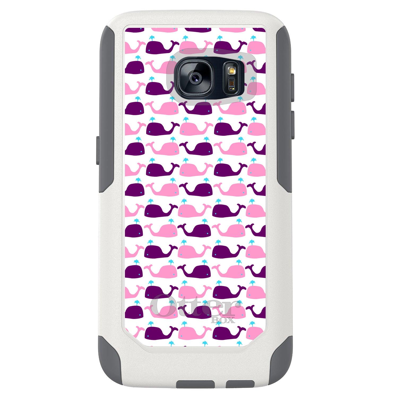 DistinctInk™ Custom White OtterBox Commuter Series Case for Samsung Galaxy S7 - Purple Pink Cartoon Whales