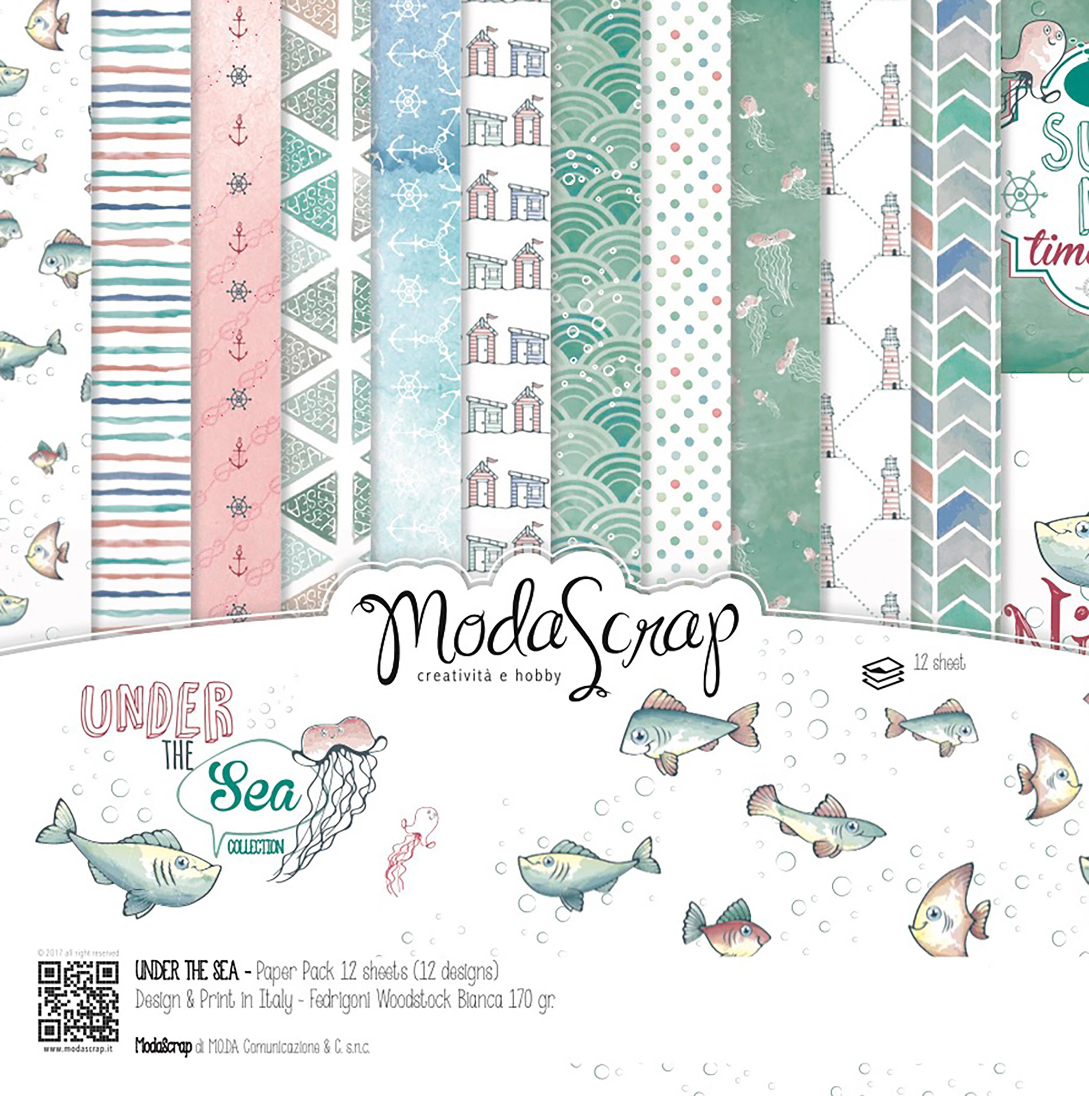 "Elizabeth Craft ModaScrap Paper Pack 6""X6"" 12/Pkg-Under The Sea"