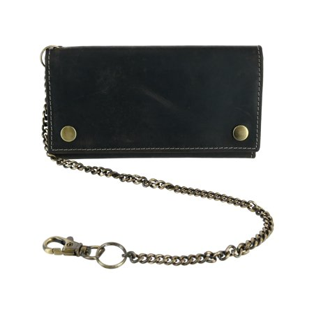 CTM® Hunter Leather Long Trifold Chain Wallet (Men's)
