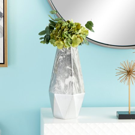 "CosmoLiving Large Contemporary Style Gray Marble & Silver Ceramic Vase with Geometric Silhouette | 6"" x 14"""