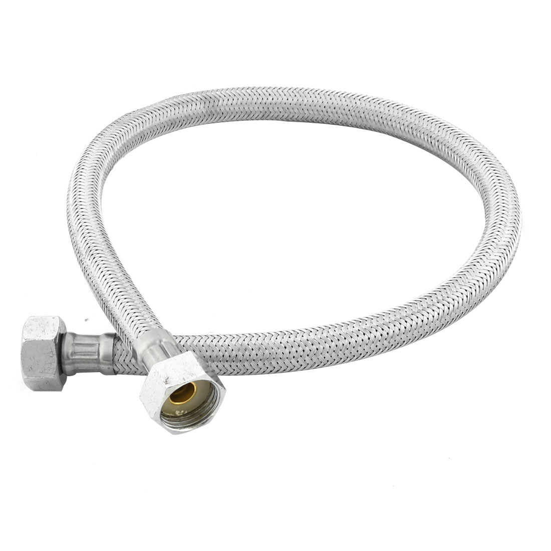 Unique Bargains Home Bathroom Shower Hose 20mm Thread Stainless Steel Silver Tone 60cm Length