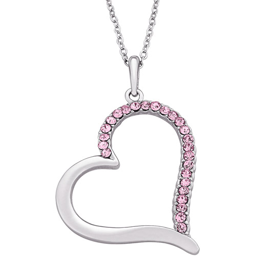 "Pink Rhinestone Sterling Silver-Plated Heart Pendant, 18"" with 3"" Extender"