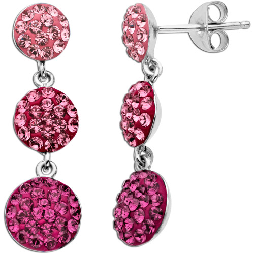 Luminesse Sterling Silver Pink Tri-Disc Earrings made with Swarovski Elements