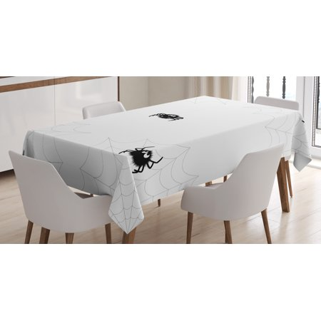 Spider Web Tablecloth, Cute Spider with Net in Different Trap Varieties Funny Characters with Fangs, Rectangular Table Cover for Dining Room Kitchen, 60 X 84 Inches, Black White, by Ambesonne](Cute Traps)
