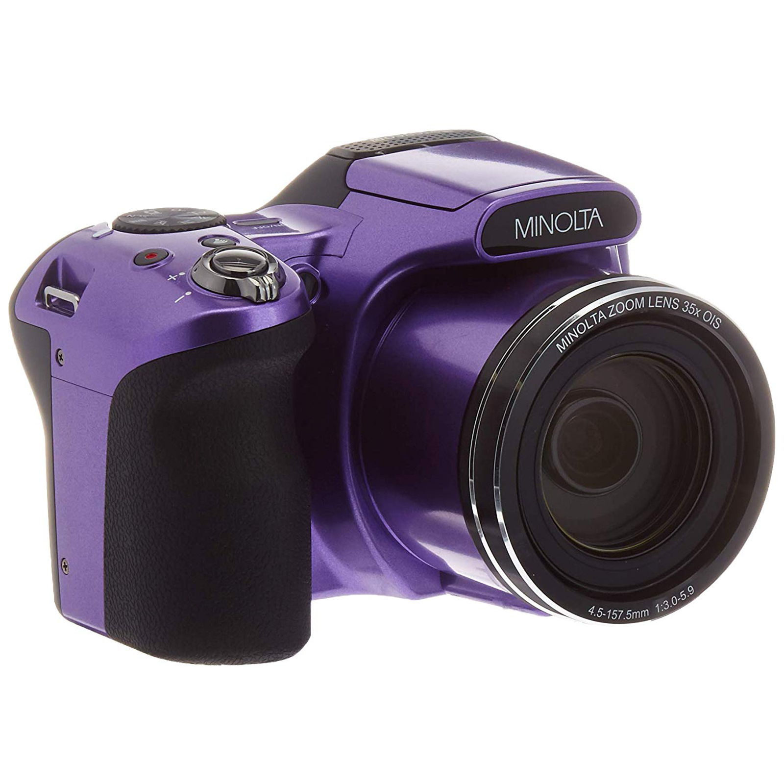 Minolta 20 Mega Pixels 1080pHD Bridge Digi Camera w/35x Optical Zoom in Purple