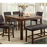 Furniture of America Kittle Square Counter Height Dining Table in Oak