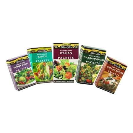 Walden Farms Calorie Free Salad Dressing Single Serve Packets - Available in 5 Flavors! Flavor: Variety Pack, Size: One Pack Dressing Single Packets