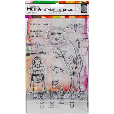 Dina Wakley Media Clear Stamps & Stencil Set-scribbly Trick Or Treat Collection Clear Stamps