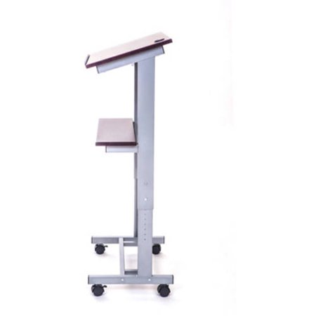 Luxor LX-ADJ-DW Adjustable Height Lectern Podium Mobile Presentation Station (Curved Podium)