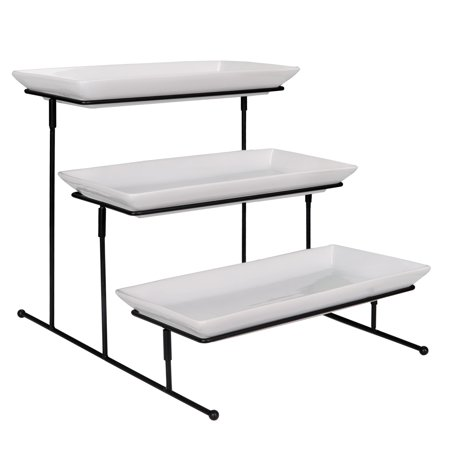 Party Food Serving Dishes (Zeny Three Tiered Serving Stand - Sturdier Food Server Display Rack with Rectangular Porcelain Platters/Trays for)