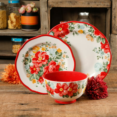 The Pioneer Woman Vintage Floral Red 12-Piece Dinnerware - Halloween Dishware