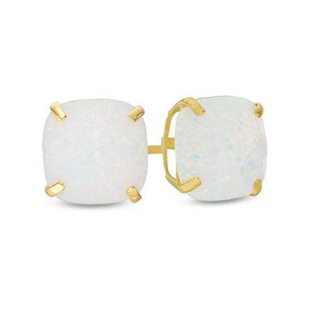 70682a12c Nissoni Jewelry - 6.00mm Cushion-Cut Created Opal October Birthstone Stud  Earrings 10k Yellow Gold - Walmart.com