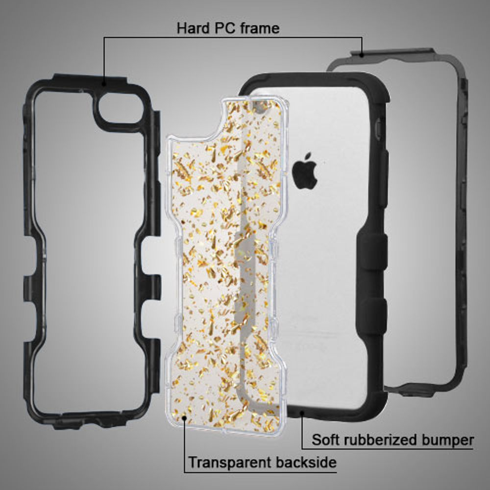 iPhone 8 Case, iPhone 7 Case, by Insten Transparent Flakes Hard PC Back TUFF Vivid Hybrid Case Cover For Apple iPhone 8 / iPhone 7 - Black/Silver - image 2 de 3