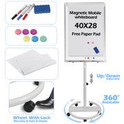 Zeny Mobile Whiteboard Dry Erase Board with Rolling Stand for Office/Home/Classroom/Conference 40x28 inches Height Adjustable Magnetic Whiteboard