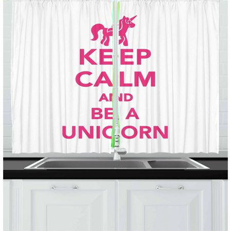 Keep Calm Curtains 2 Panels Set, Keep Calm and Be a Unicorn Text with Magical Mythological Fairytale Pony Animal, Window Drapes for Living Room Bedroom, 55W X 39L Inches, Pink White, by Ambesonne