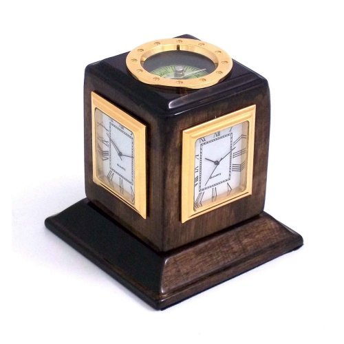 Bey-Berk International Three Time Zone Revolving Desk Clock, Walnut Wood - Tarnish Proof