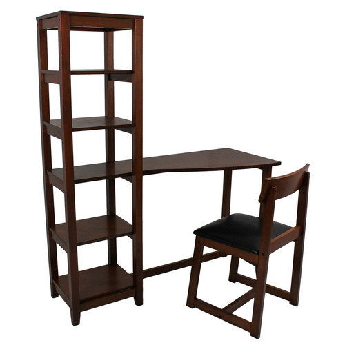International Caravan Wallaston Writing Desk with Attached Book Shelf and Chair
