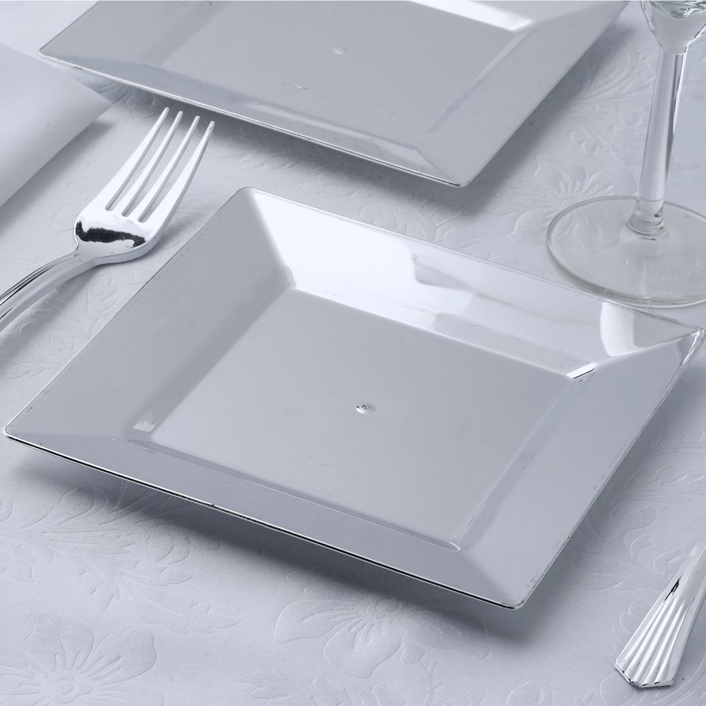 BalsaCircle 12 pcs 6.5-Inch Silver Plastic Square Plates - Disposable Wedding Party Catering Tableware & Disposable Plastic Plates