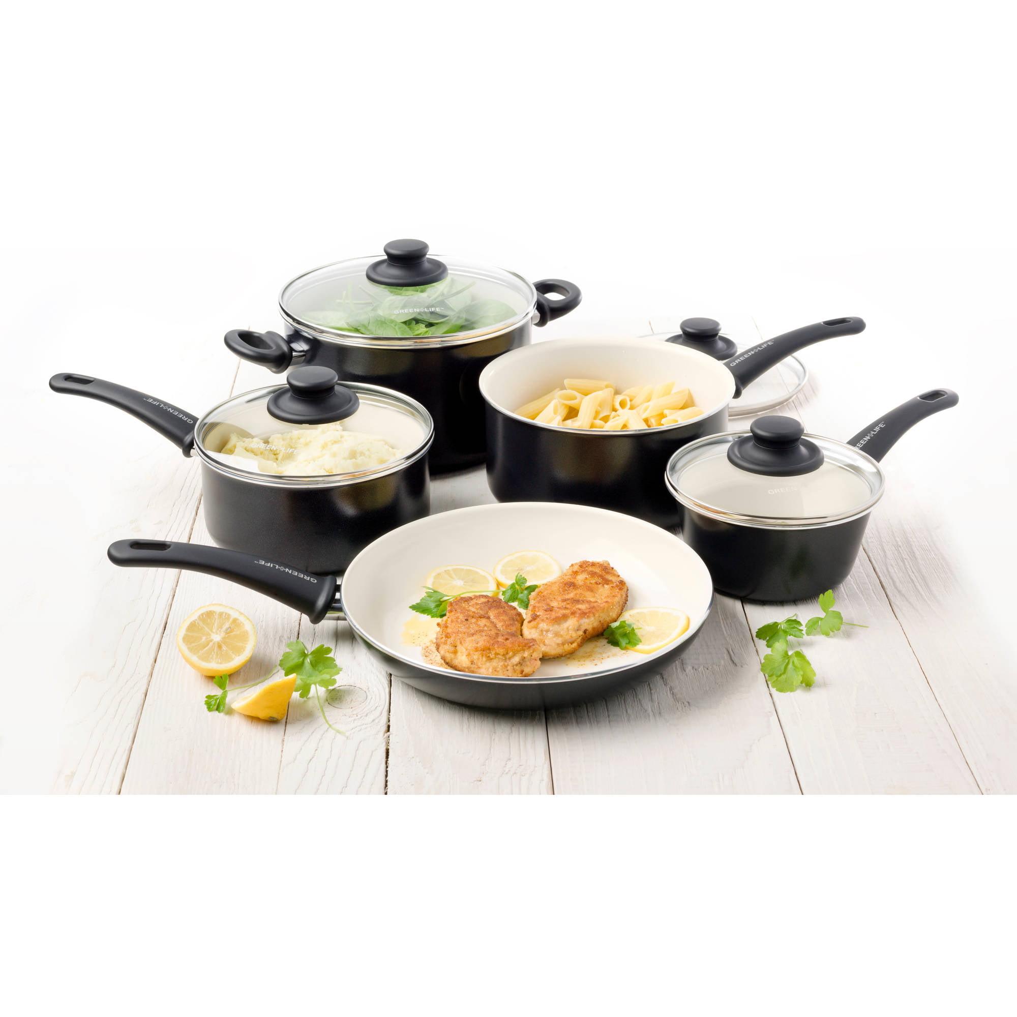 Greenlife Ceramic Non Stick 14 Piece Cookware Set Tupperware Tchef Fry Pan