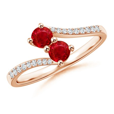 July Birthstone Ring - Two Stone Ruby Bypass Ring with Diamond Accents in 14K Rose Gold (3.7mm Ruby) - SR1141RD-RG-AAA-3.7-4.5