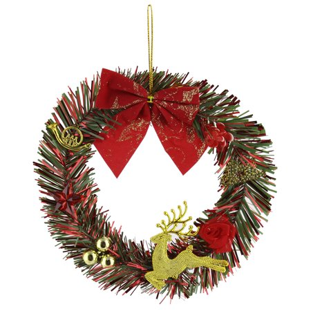 Christmas Tree Wreath (Christmas Day Bowknot Deer Flower Pattern Wreath Tree Decoration)