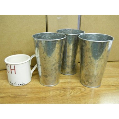3 Pc Galvanized Buckets French Style Taper 7 Tall X 4 12 Wide