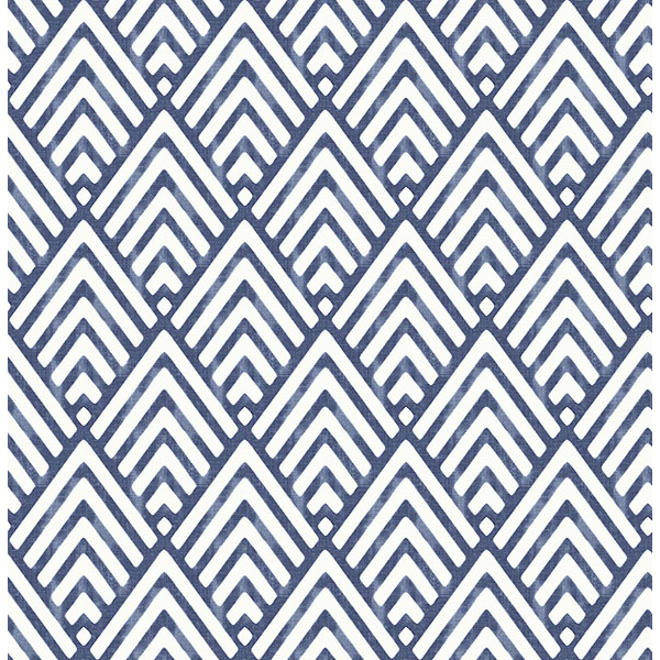 Brewster Vertex Indigo Diamond Geometric Wallpaper